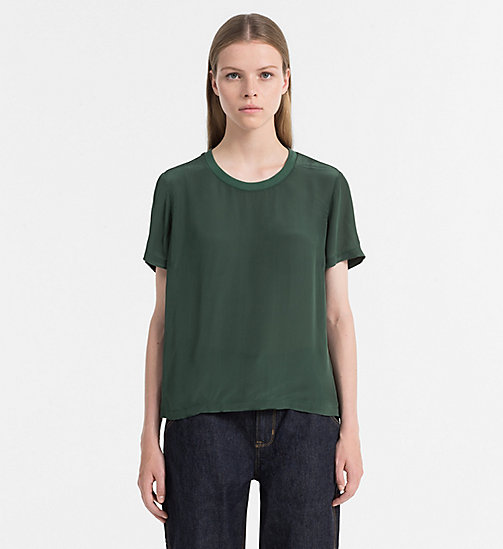 CALVIN KLEIN JEANS Crepe Short-Sleeve Top - TREKKING GREEN - CALVIN KLEIN JEANS NEW IN - main image