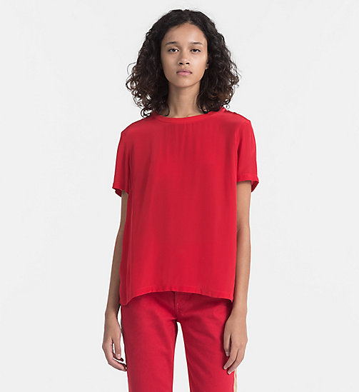 CALVIN KLEIN JEANS Crepe Short-Sleeve Top - TANGO RED - CALVIN KLEIN JEANS CLOTHES - main image