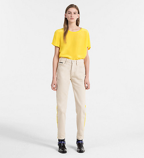 CALVIN KLEIN JEANS Crepe Short-Sleeve Top - SPECTRA YELLOW - CALVIN KLEIN JEANS TOPS - detail image 1