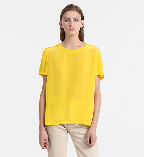 CALVIN KLEIN JEANS Crepe Short-Sleeve Top - SPECTRA YELLOW - CALVIN KLEIN JEANS NEW IN - main image