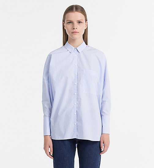CALVIN KLEIN JEANS Cotton Poplin Boxy Shirt - BRIGHT WHITE / BLUE -  T-SHIRTS - main image