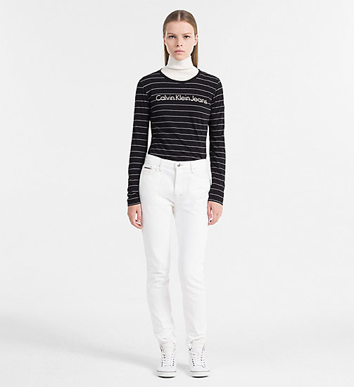 CALVIN KLEIN JEANS Organic Cotton Stripe Top - CK BLACK / BRIGHT WHITE - CALVIN KLEIN JEANS TOPS - detail image 1