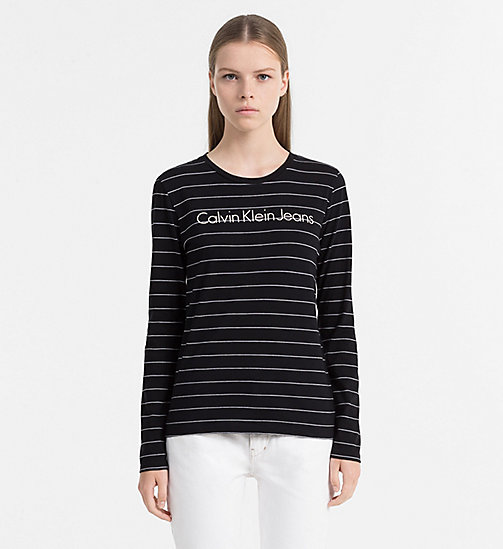CALVIN KLEIN JEANS Organic Cotton Stripe Top - CK BLACK / BRIGHT WHITE - CALVIN KLEIN JEANS TOPS - main image