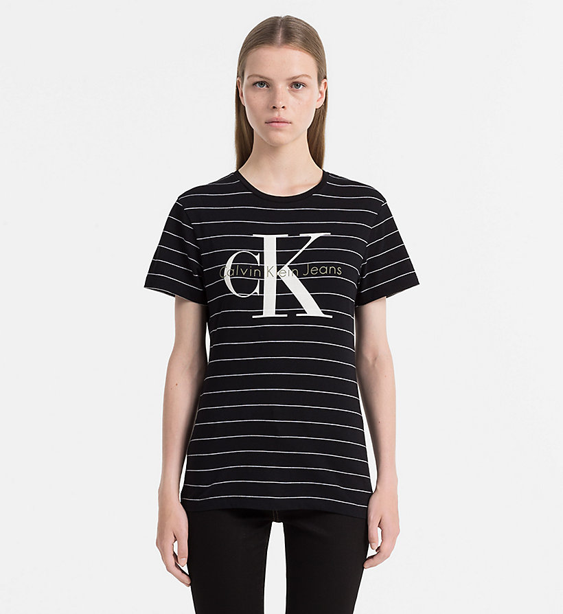 CALVIN KLEIN JEANS Organic Cotton Logo T-shirt - CREAM TAN / BRIGHT WHITE - CALVIN KLEIN JEANS WOMEN - main image