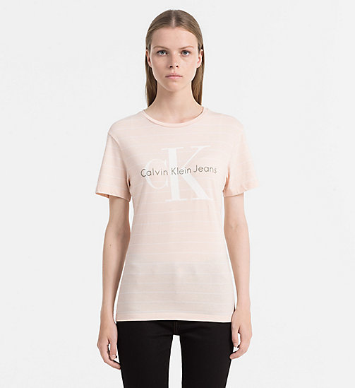 CALVIN KLEIN JEANS Organic Cotton Logo T-shirt - CREAM TAN / BRIGHT WHITE - CALVIN KLEIN JEANS CLOTHES - main image