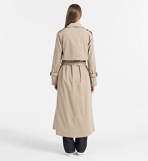 CALVIN KLEIN JEANS Long Trench Coat - SILVER MINK - CALVIN KLEIN JEANS COATS & JACKETS - detail image 1