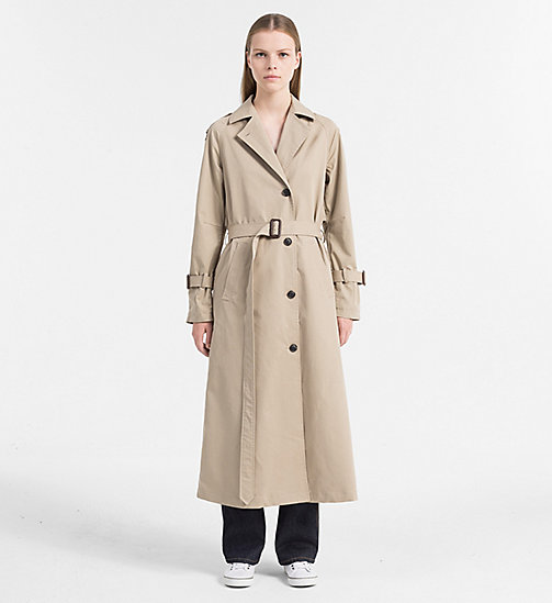 CALVIN KLEIN JEANS Long Trench Coat - SILVER MINK - CALVIN KLEIN JEANS COATS & JACKETS - main image
