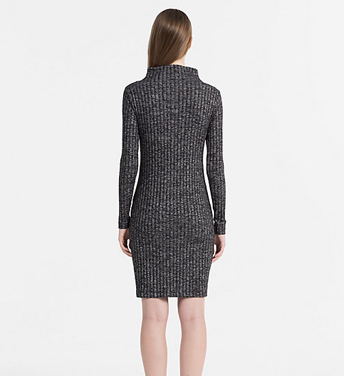 CALVIN KLEIN JEANS Melange Rib-Knit Dress - SPACE DYE BLACK - CALVIN KLEIN JEANS DRESSES & SKIRTS - detail image 1