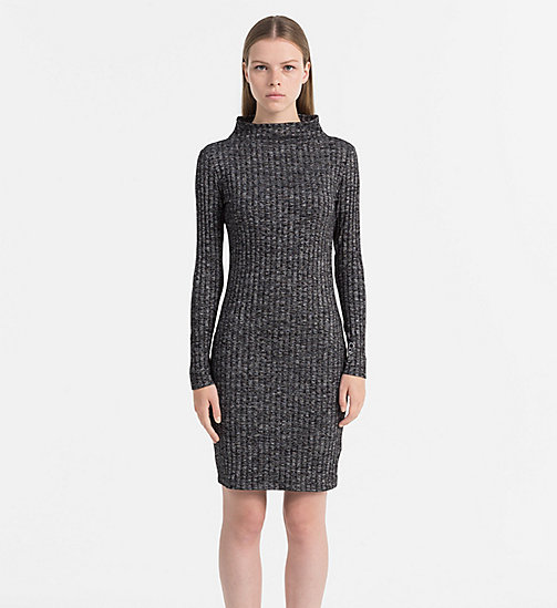CALVIN KLEIN JEANS Melange Rib-Knit Dress - SPACE DYE BLACK - CALVIN KLEIN JEANS DRESSES & SKIRTS - main image