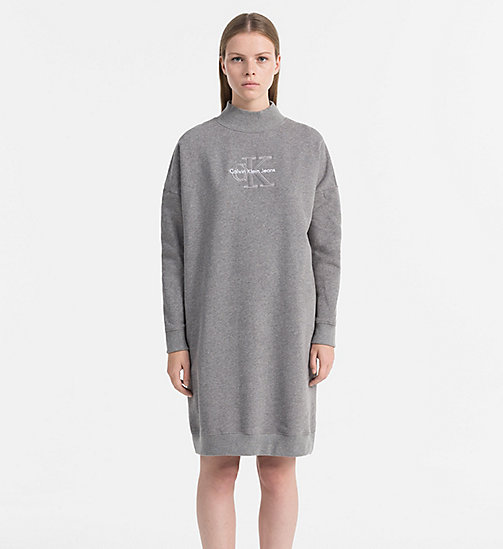 CALVIN KLEIN JEANS Logo Sweater Dress - MID GREY HEATHER - CALVIN KLEIN JEANS DRESSES & SKIRTS - main image