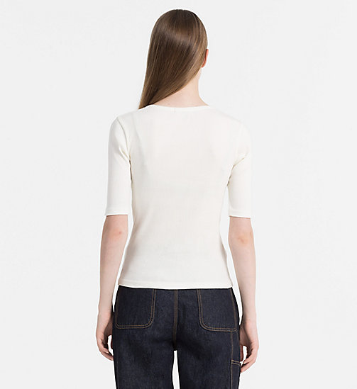 CALVIN KLEIN JEANS Rib Jersey Top - EGRET - CALVIN KLEIN JEANS T-SHIRTS - detail image 1
