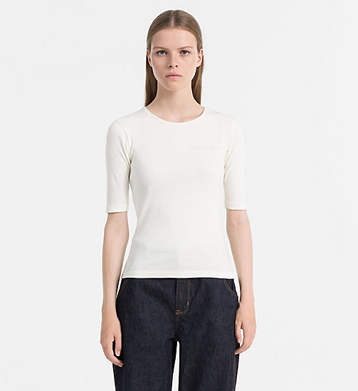 CALVIN KLEIN JEANS Rib Jersey Top - EGRET - CALVIN KLEIN JEANS T-SHIRTS - main image