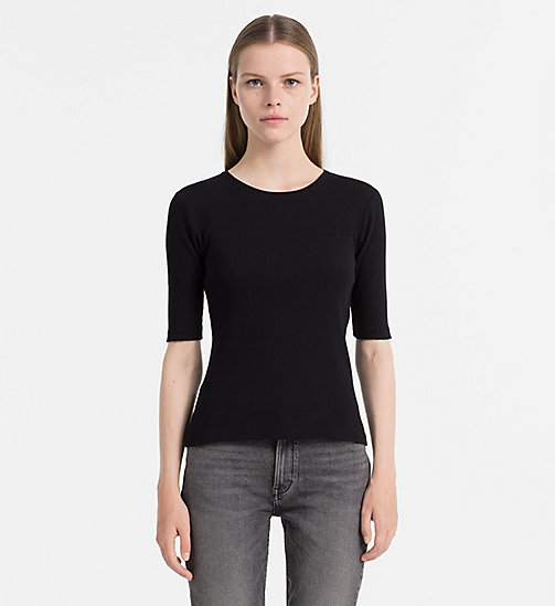 CALVIN KLEIN JEANS Rib Jersey Top - CK BLACK - CALVIN KLEIN JEANS TOPS - main image