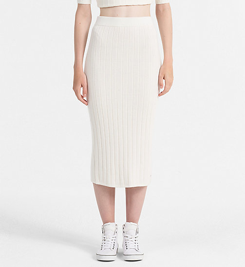 CALVIN KLEIN JEANS Wool Cotton Tube Skirt - EGRET - CALVIN KLEIN JEANS DRESSES & SKIRTS - main image