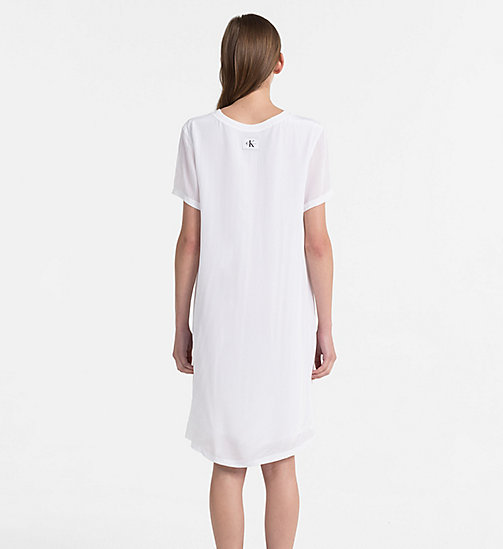 CALVIN KLEIN JEANS Crepe T-shirt Dress - BRIGHT WHITE - CALVIN KLEIN JEANS DRESSES & SKIRTS - detail image 1