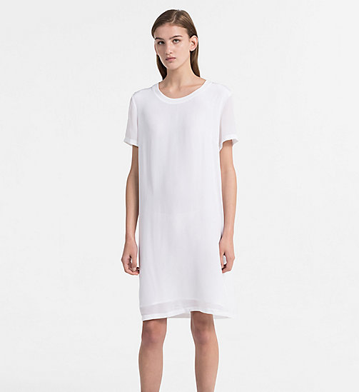 CALVIN KLEIN JEANS Crepe T-shirt Dress - BRIGHT WHITE - CALVIN KLEIN JEANS DRESSES & SKIRTS - main image