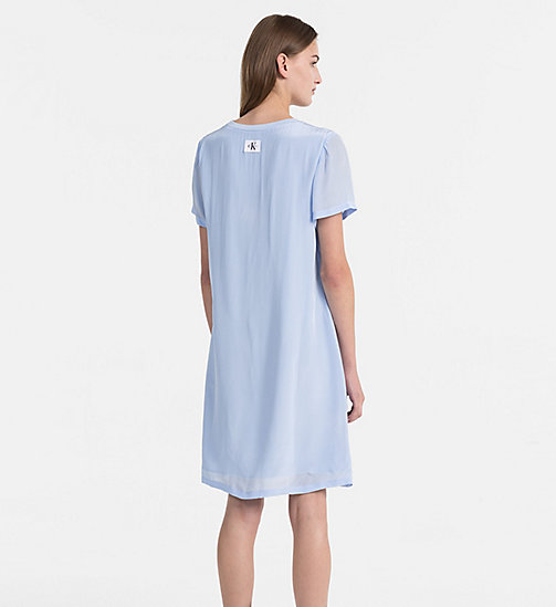 CALVIN KLEIN JEANS Crepe T-shirt Dress - CHAMBRAY BLUE - CALVIN KLEIN JEANS DRESSES - detail image 1