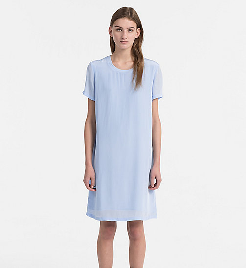 CALVIN KLEIN JEANS Crepe T-shirt Dress - CHAMBRAY BLUE - CALVIN KLEIN JEANS DRESSES - main image
