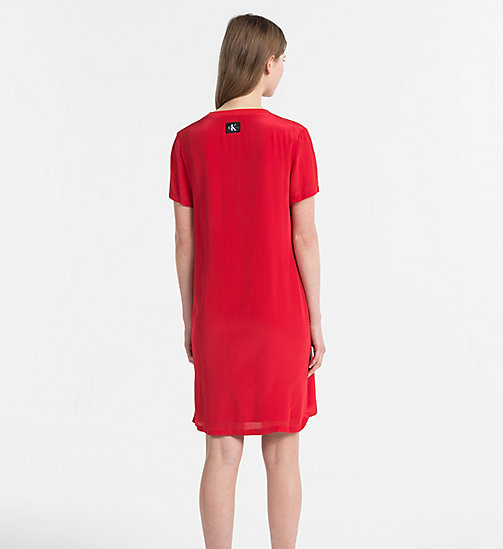 CALVIN KLEIN JEANS Crepe T-shirt Dress - TANGO RED - CALVIN KLEIN JEANS DRESSES & SKIRTS - detail image 1
