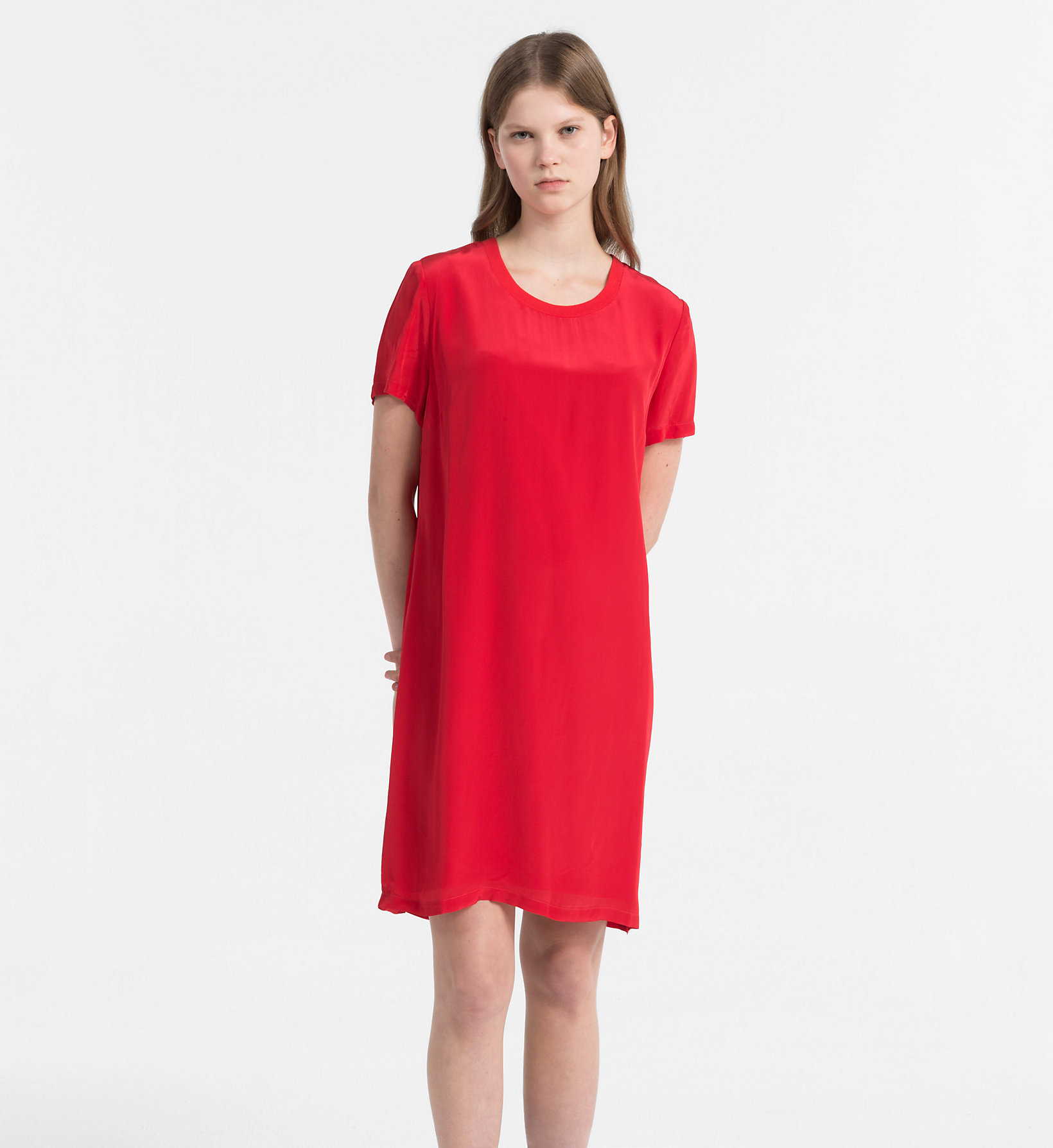 Calvin Klein Jeans Crepe T Shirt Dress Tango Red Dresses