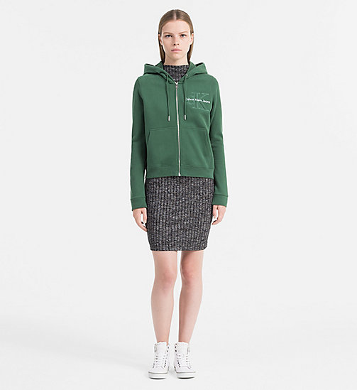 CALVIN KLEIN JEANS Zip-Through Logo Hoodie - TREKKING GREEN -  SWEATSHIRTS - detail image 1