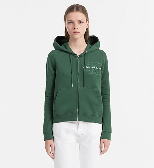 CALVIN KLEIN JEANS Zip-Through Logo Hoodie - TREKKING GREEN -  SWEATSHIRTS - main image