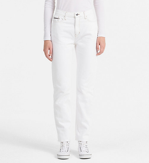 CALVIN KLEIN JEANS High Rise Straight Ankle Jeans - ECRU STONE - CALVIN KLEIN JEANS CLOTHES - main image