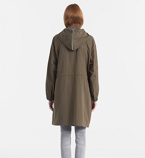 CALVIN KLEIN JEANS Peached Cotton Parka Coat - DUSTY OLIVE - CALVIN KLEIN JEANS CLOTHES - detail image 1