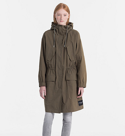 CALVIN KLEIN JEANS Peached Cotton Parka Coat - DUSTY OLIVE - CALVIN KLEIN JEANS COATS & JACKETS - main image