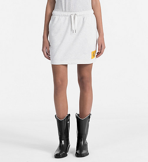 CALVIN KLEIN JEANS Jersey Mini Skirt - WHITE HEATHER / SPECTRA YELLOW - CALVIN KLEIN JEANS NEW IN - main image