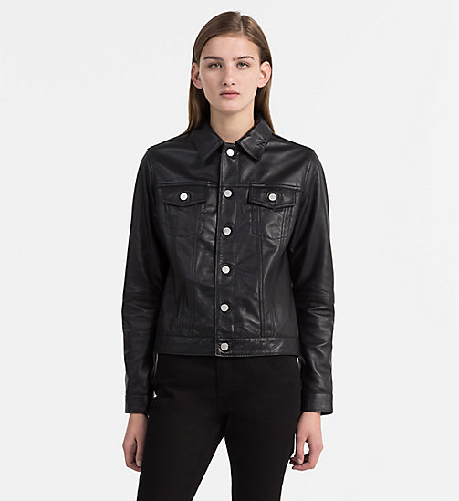 CALVIN KLEIN JEANS Leather Trucker Jacket - CK BLACK - CALVIN KLEIN JEANS TRUE COLOURS - main image