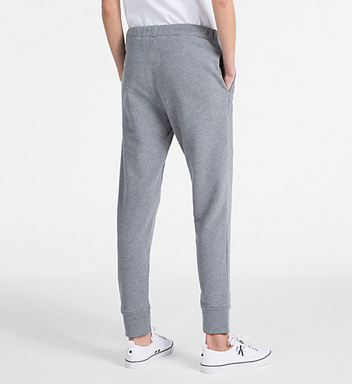 CALVIN KLEIN JEANS Cotton Terry Jogging Pants - LIGHT GREY HEATHER - CALVIN KLEIN JEANS TROUSERS & SHORTS - detail image 1