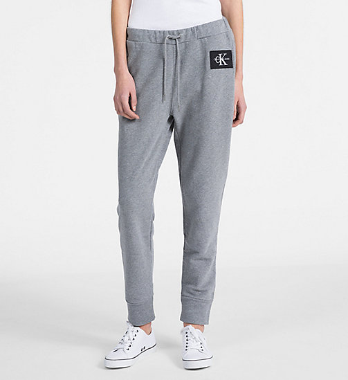 CALVIN KLEIN JEANS Cotton Terry Jogging Pants - LIGHT GREY HEATHER - CALVIN KLEIN JEANS LOGO SHOP - main image