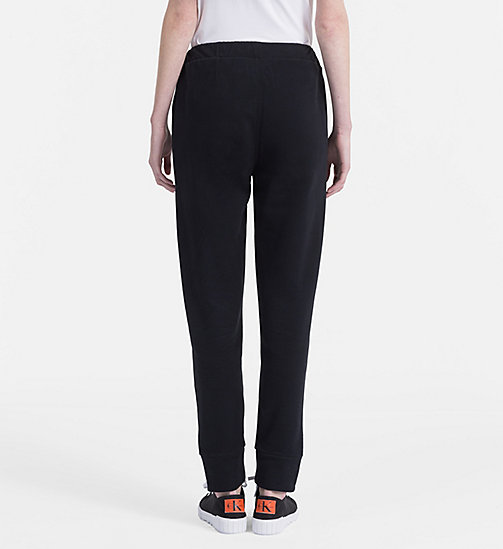 CALVIN KLEIN JEANS Cotton Terry Jogging Pants - CK BLACK - CALVIN KLEIN JEANS TROUSERS & SHORTS - detail image 1