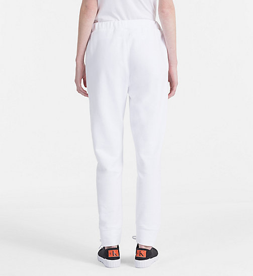 CALVIN KLEIN JEANS Cotton Terry Jogging Pants - BRIGHT WHITE - CALVIN KLEIN JEANS TROUSERS - detail image 1