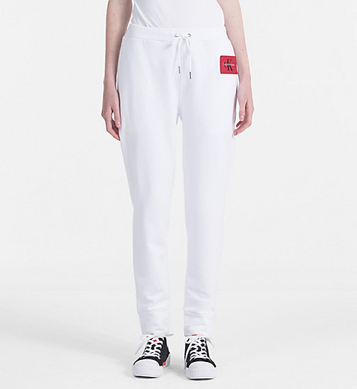 CALVIN KLEIN JEANS Cotton Terry Jogging Pants - BRIGHT WHITE - CALVIN KLEIN JEANS TROUSERS - main image