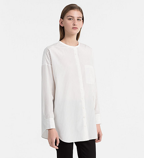 CALVIN KLEIN JEANS Cotton Silk Tunic Top - EGRET / CK BLACK - CALVIN KLEIN JEANS TOPS - main image