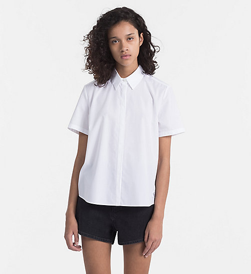 CALVIN KLEIN JEANS Cotton Poplin Short-Sleeve Shirt - BRIGHT WHITE - CALVIN KLEIN JEANS SHIRTS - main image