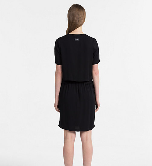 CALVIN KLEIN JEANS Crepe Two-in-One Dress - CK BLACK - CALVIN KLEIN JEANS DRESSES & SKIRTS - detail image 1
