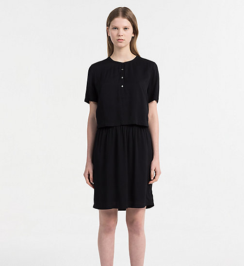 CALVIN KLEIN JEANS Crepe Two-in-One Dress - CK BLACK - CALVIN KLEIN JEANS DRESSES & SKIRTS - main image