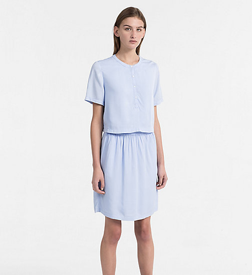 CALVIN KLEIN JEANS Crepe Two-in-One Dress - CHAMBRAY BLUE - CALVIN KLEIN JEANS DRESSES - main image