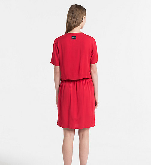 CALVIN KLEIN JEANS Crepe Two-in-One Dress - TANGO RED - CALVIN KLEIN JEANS DRESSES & SKIRTS - detail image 1
