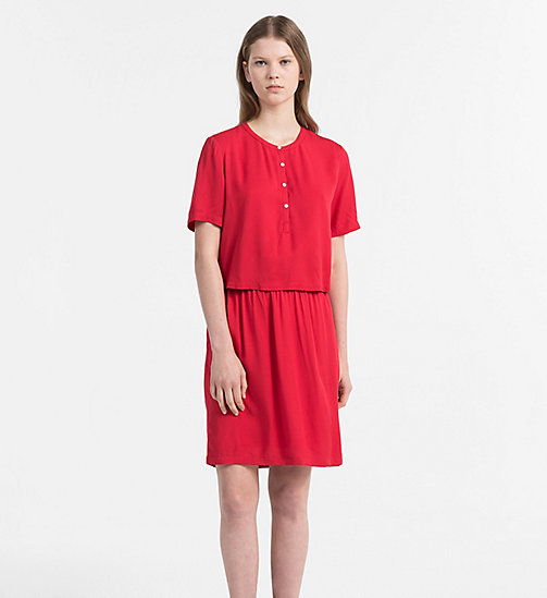 CALVIN KLEIN JEANS Crepe Two-in-One Dress - TANGO RED - CALVIN KLEIN JEANS DRESSES - main image