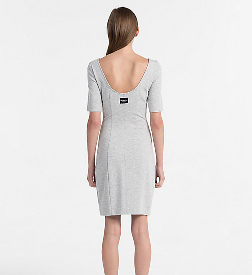 CALVIN KLEIN JEANS Milano Jersey Dress - LIGHT GREY HEATHER - CALVIN KLEIN JEANS DRESSES & SKIRTS - detail image 1