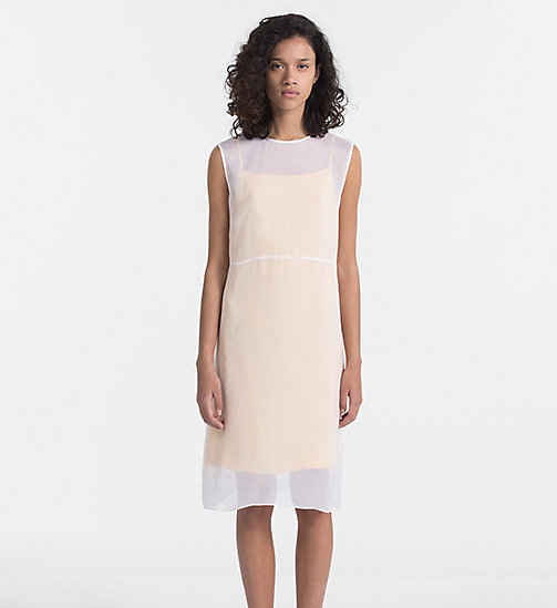 CALVIN KLEIN JEANS Silk Double Layer Dress - BRIGHT WHITE / SPECTRA YELLOW - CALVIN KLEIN JEANS DRESSES - main image