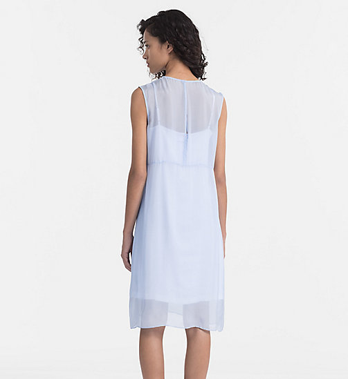 CALVIN KLEIN JEANS Silk Double Layer Dress - CHAMBRAY BLUE / BRIGHT WHITE - CALVIN KLEIN JEANS DRESSES - detail image 1