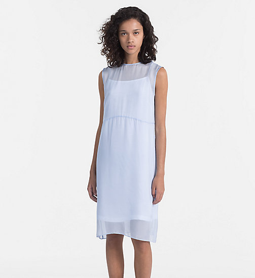 CALVIN KLEIN JEANS Silk Double Layer Dress - CHAMBRAY BLUE / BRIGHT WHITE - CALVIN KLEIN JEANS DRESSES & SKIRTS - main image