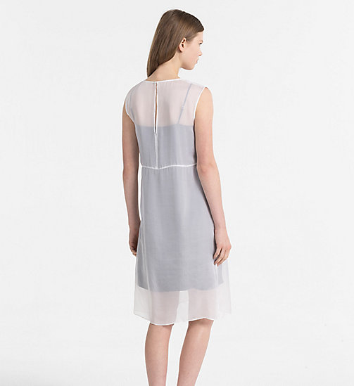 CALVIN KLEIN JEANS Silk Double Layer Dress - BRIGHT WHITE / CK BLACK - CALVIN KLEIN JEANS CLOTHES - detail image 1
