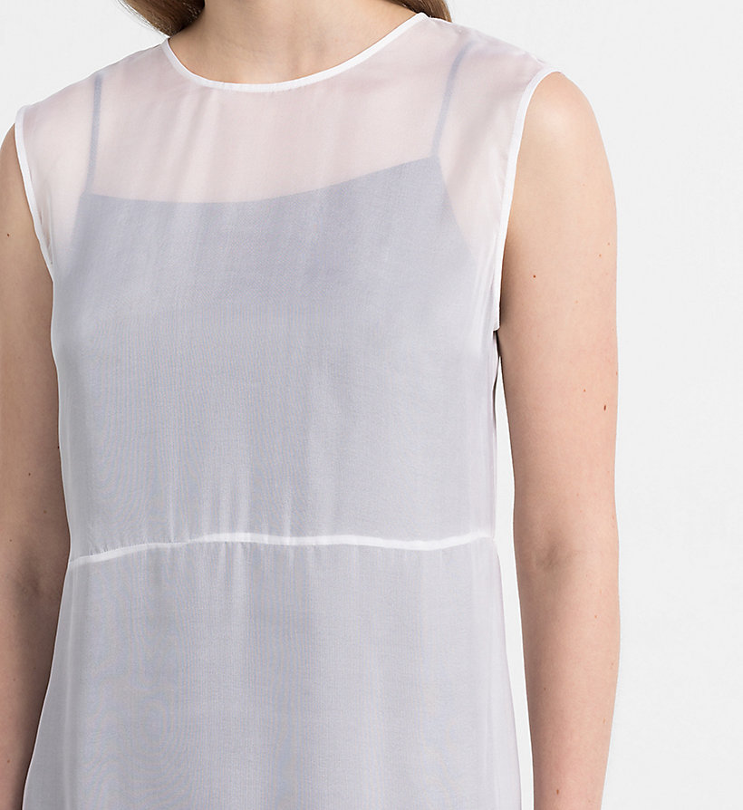 CALVIN KLEIN JEANS Silk Double Layer Dress - BRIGHT WHITE / SPECTRA YELLOW - CALVIN KLEIN JEANS WOMEN - detail image 2
