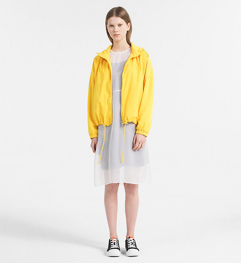 CALVIN KLEIN JEANS Silk Double Layer Dress - BRIGHT WHITE / SPECTRA YELLOW - CALVIN KLEIN JEANS WOMEN - detail image 3